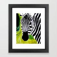 Green Black and White Zebra Framed Art Print