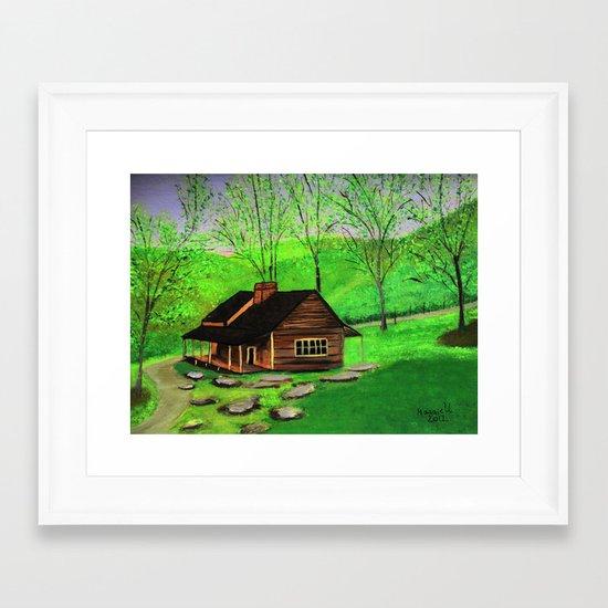 Hillside cabin Framed Art Print