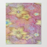 Softly Textured Floral Canvas Print