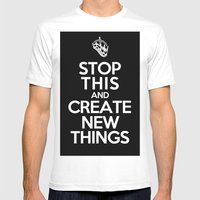 Stop This Mens Fitted Tee White SMALL