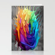 Colorful Flaming Flower Stationery Cards