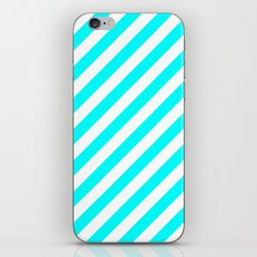Diagonal Stripes (Aqua Cyan/White) iPhone & iPod Skin