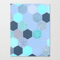 Denim Blue, Aqua & Indigo Hexagon Doodle Pattern Canvas Print