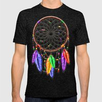 Dreamcatcher Rainbow Fea… Mens Fitted Tee Tri-Black SMALL