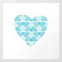 Blue, blue heart Art Print
