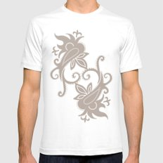Paisley: Dark Brown Combo Mens Fitted Tee SMALL White