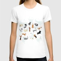 cats T-shirts featuring Raining Cats & Dogs by Anne Was Here