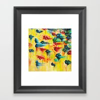 HERE COMES THE RAIN - Abstract Acrylic Painting Rain Storm Clouds Colorful Rainbow Modern Impasto Framed Art Print