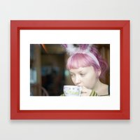 red bunny Framed Art Print