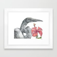 Egret with Hibiscus Framed Art Print