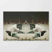 locking horns under Taurus Canvas Print