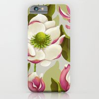 iPhone Cases featuring magnolia bloom - daytime version by Lidija Paradinović Nagulov - Celandine
