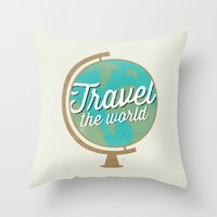 Travel The World - Globe… Throw Pillow