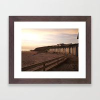 Beach Huts Sunset Framed Art Print