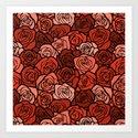 Romantic Orange roses with black outline Art Print