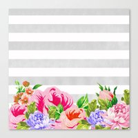 FLORAL GRAY STRIPES Canvas Print