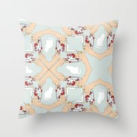 Tea And Cat Pattern Throw Pillow