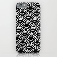 Waves All Over - White on Black iPhone 6 Slim Case