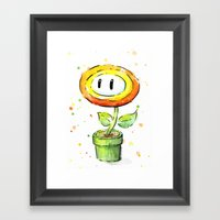 Fire Flower Watercolor Painting Framed Art Print