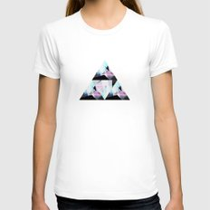 triangular pattern Womens Fitted Tee White SMALL