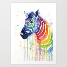 Zebra Watercolor Rainbow Painting | Ode to Fruit Stripes Art Print