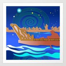 Maori Canoes : Waka Art Print