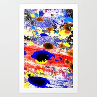 Abstract watercolour collage painting Art Print