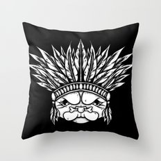 Tribal Pug Throw Pillow