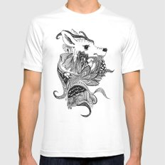 Inking Deer White Mens Fitted Tee SMALL