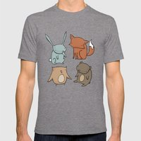 Woodland Animals Mens Fitted Tee Tri-Grey SMALL