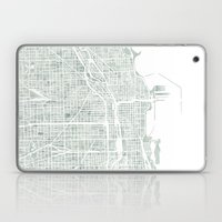 Map Chicago city watercolor map Laptop & iPad Skin