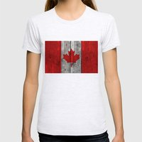 Canada Flag On Heavily T… Womens Fitted Tee Ash Grey SMALL