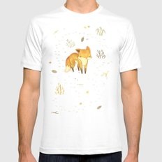 Lonely Winter Fox Mens Fitted Tee White SMALL