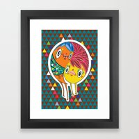Polypop 2 Heads Framed Art Print
