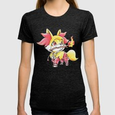Flame Games Womens Fitted Tee Tri-Black SMALL