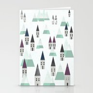 Village On Winter Stationery Cards