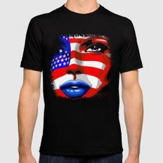 Usa Flag on Girl's Face Mens Fitted Tee Black SMALL