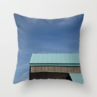 Blue Roof Throw Pillow