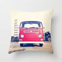 Vintage Volkswagen Bus Throw Pillow