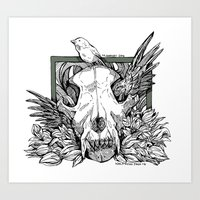 Wolf Skull Wing Art Print
