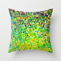 HOLIDAY CHEER - Bold Christmas Festive Green Red Yellow Sparkle Stars Glitter Bling Abstract Art Throw Pillow