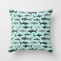 Sharks nature animal illustration texture print marine biologist sea life ocean Andrea Lauren Throw Pillow