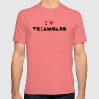 I V TRIANGLES Mens Fitted Tee Pomegranate SMALL