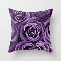 Rose Bouquet In Purple Throw Pillow