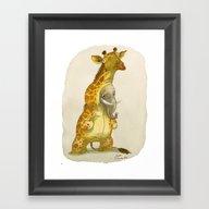 Framed Art Print featuring Elephant In A Giraffe Co… by Bouletcorp