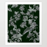 Black and White Floral... Art Print