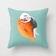 The Fish Girl Throw Pillow