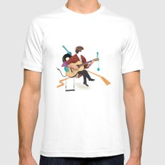 ILOVEMUSIC #1 White Mens Fitted Tee SMALL