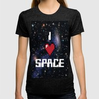 I Heart Space Retro Galaxy Womens Fitted Tee Tri-Black SMALL