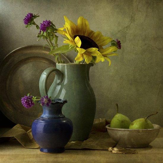 Sunflowers and blue vase Art Print